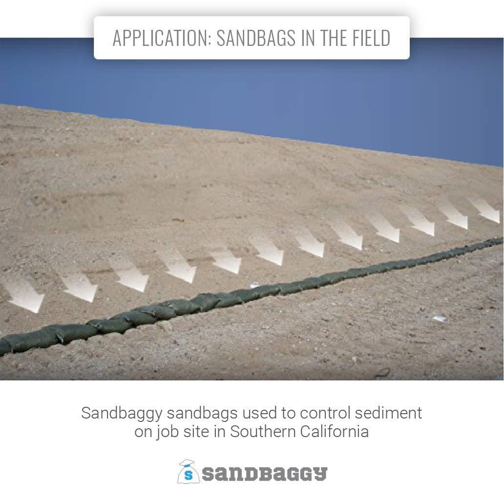 50 Green Sandbag Sandbags Will Hold 50 Pounds of Sand Polypropylene Olive Drab