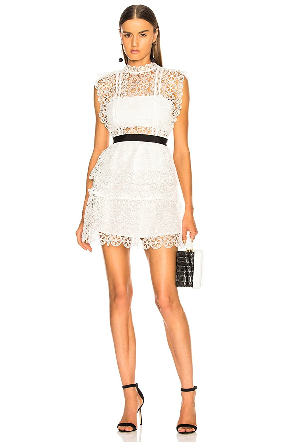 Dior Bella White Circle Floral Lace Tiered Mini Dress At