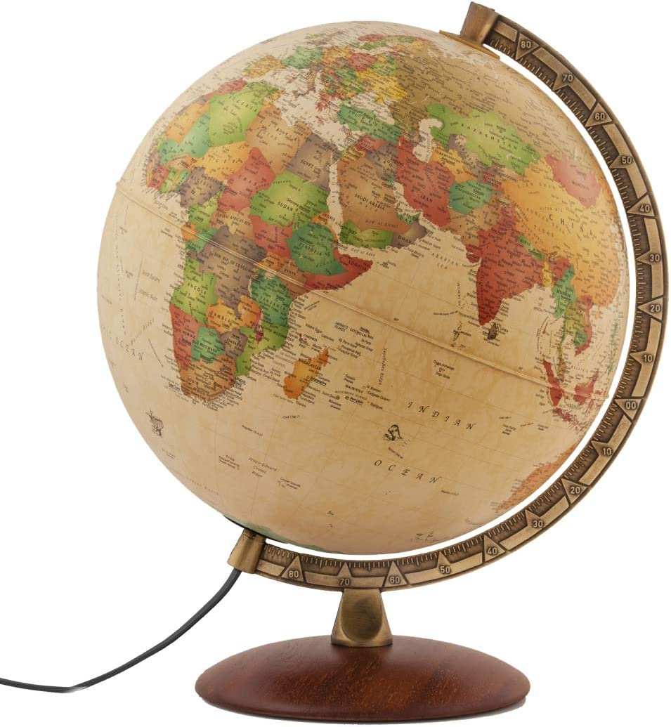 """Waypoint Geographic Como Light Up Globe - 12"""" Diameter Decorative Illuminated Antique Ocean Style Desk Globe with Stand, Up-to-Date World Globe, 2.5 lb, WP21102"""