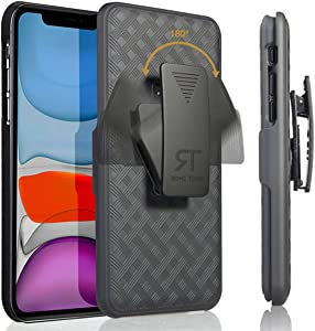 Rome Tech Holster Case with Belt Clip for Apple iPhone 12 Mini - Slim Heavy Duty Shell Holster Combo - Rugged Phone Cover with Kickstand Compatible with iPhone 12 Mini - Black