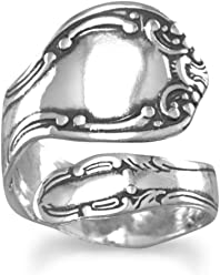 Oxidized Sterling Silver Adjustable Spoon Rings, 7/8 inch wide