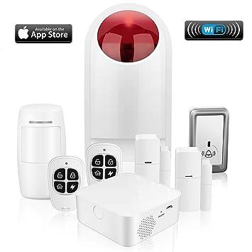 Sistema de Alarma, WiFi Alarmas para Casa, Antirrobo, Inalámbrico, Sin cuotas,