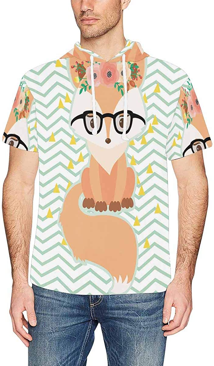 XS-2XL INTERESTPRINT Mens Short Sleeve Hoodies Pullover Fox Floral Wreath Lightweight Drawstring Shirts
