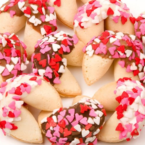 Heart Sprinkles Fortune Cookies - Set of 12 - Cookie Fortune Dipped Hand
