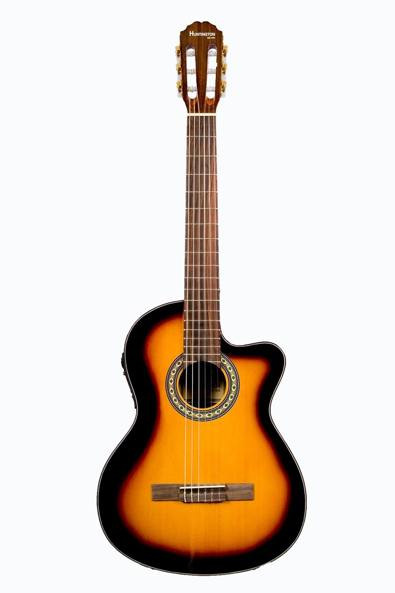 Directly Cheap 6 String Classical Guitar, Sunburst, Right Handed (GFC349-TS+Lessons)