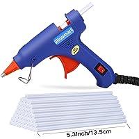 Blusmart Mini Pistolet à colle avec 25 bâtons de colle flexible haute température pour les petits projets de bricolage, l'emballage et les petites réparations à domicile (20 W, bleu)