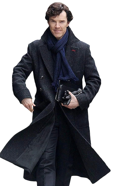 Marche Sydney Sherlock Holmes Benedict Cumberbatch Charcoal Grey Wool Long Trench Coat Jacket