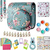 Flylther Fujifilm Instax Mini 8 8+ 9 Instant Flim Camera Accessories 8 in 1 Bundles Set (Case, Albums, Frames, Film Stickers, Filters ) - Vintage Flower