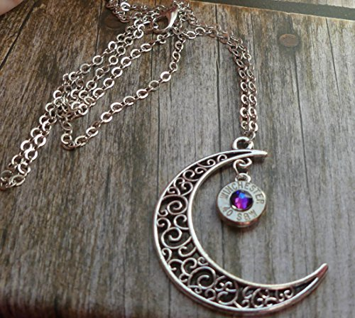 (Bullet Moon Necklace with Swarovski Meridian Blue)