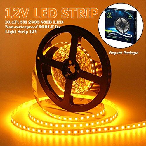 (Led Strip Lights, IEKOVTM 2835 SMD 600LEDs Non-Waterproof Flexible Xmas Decorative Lighting Strips, LED Tape, 5M 16.4Ft DC12V, 3 Times Brightness Than SMD 3528 LED Light Strip (Yellow))