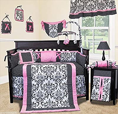 Rose Damask 14 Piece Girls Crib Bedding Set by Sisi