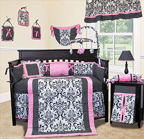SISI Baby Bedding - Rose Damask 14 PCS Crib Bedding incl. Musical - Musical Damask Mobile