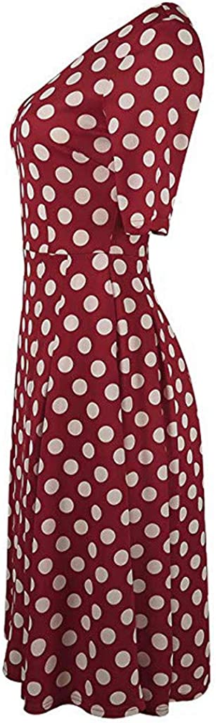 Lavany Womens Swing Dress Vintage Pleated Knee Length Party Dress with Pockets