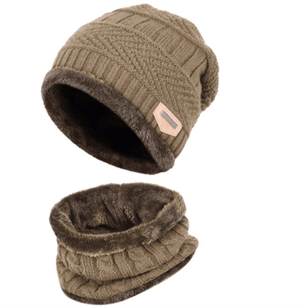 Han shan Winter Mens Knit Hat and Ladies Knit Hat + Scarf, Unisex-Adult Wind and Warm, Winter Lovers Hat (Bule)