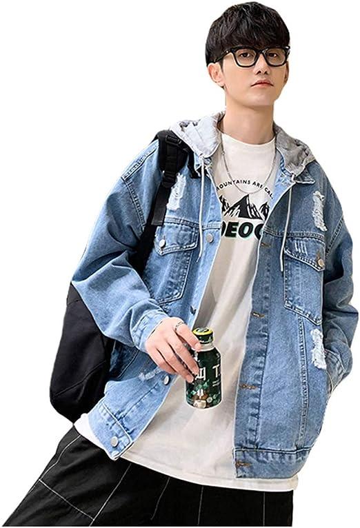 QYYデニムジャケット メンズ ジャケット デニム ダメージ ジージャン ゆったり アウター フード付き パーカー 長袖 大きいサイズ コート 秋