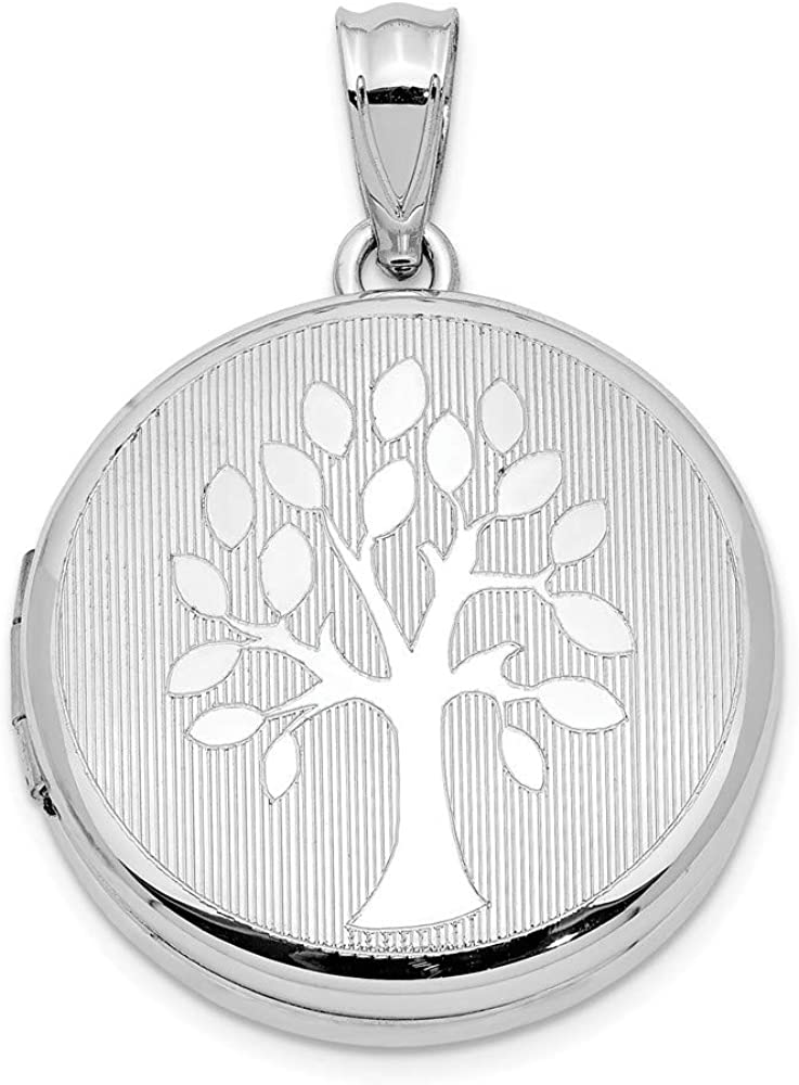 Sterling Silver 20MM Grooved and Polished Tree Round Locket Charm Pendant