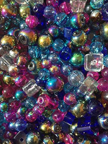 Mixed Assorted Sizes Shapes Small to Large 4mm-12mm Glass Beads Ab Rounds, Square, Blue, White, Fuchsia,gold, Silver 100 Beads in USA 7 Mm Round Shape