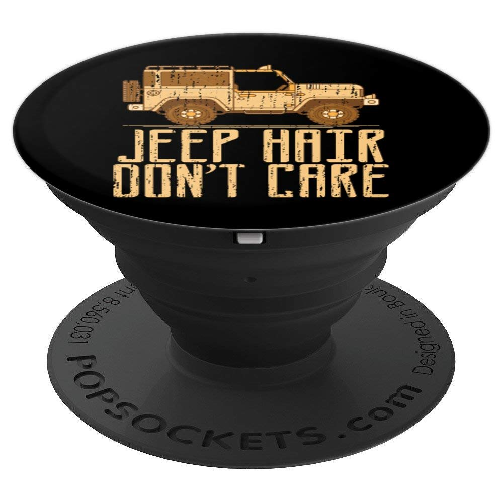 Jeeps Hair Don't Care Girl Off Road Lover 4x4 Wave Gift PopSockets Grip and Stand for Phones and Tablets