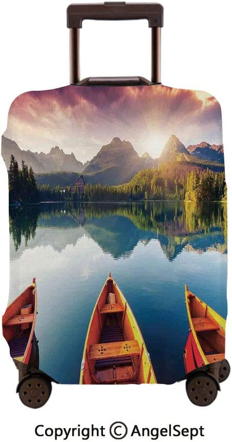 Washable Polyster Travel Luggage Protector,Sunset at Mountain Lake Strbske National Park Dramatic Sky and Boats Orange Blue and Mauve,30x40inches,Fashion Baggage Suitcase Cover