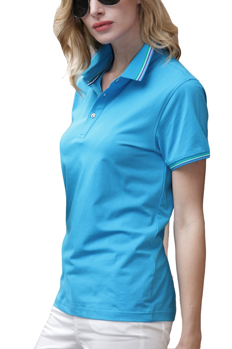 Mitario Femiego Women Classic Stripe Collar Slim Fit Short Sleeves Golf Performance Polo Shirt Red XXS