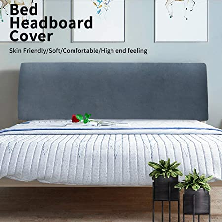Color : AA, Size : 90-120CM WWQQ Stretch Bed Headboards Cover All-Inclusive Backrest Cover Bed Dust Cover Dustproof Headboards Cover Slipcover Protector Cover Headboards For Beds Cover Grey 180cm