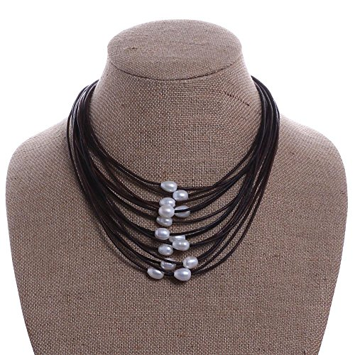Necklace Freshwater Multi Pearl (Aobei Pearl Cultured Freshwater Pearls Necklace on Multi Strands Leather Cord with Magnetic Clasp-Dark Brown)