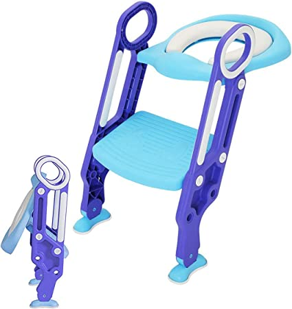 Folding Kids Potty Training Seat with Adjustable Ladder for Toddler Toilet Chair