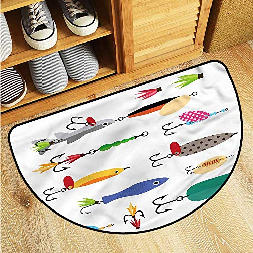 Dabuniu Entrance Half Round Doormat Fishing Stinger Net and Worms Keeps Your Floors Clean 35