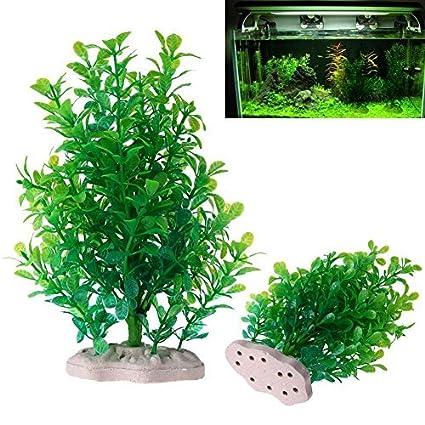 Planta artificial de plástico de Broadroot árbol pequeño, acuario, pecera, paisaje, decoración