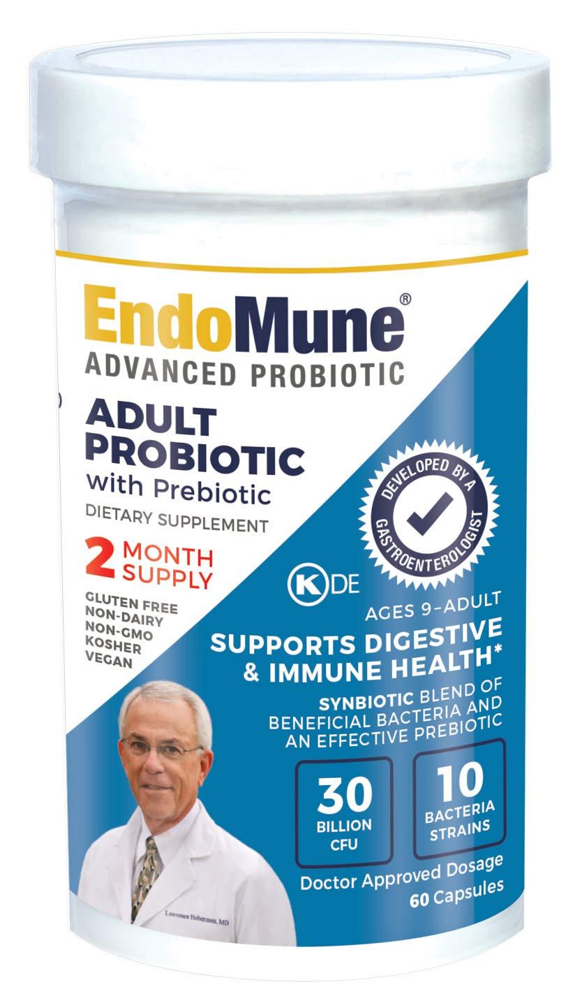EndoMune Advanced Adult Multi-Strain Probiotic Supplement with Prebiotic | 10 Strains, 30 Billion CFU | Physician Formulated | 60 Vegetarian Capsules
