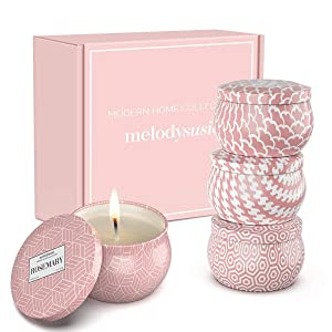 MelodySusie Aromatherapy Scented Candles for Home - Natural Soy Wax 4.4 Oz Portable Travel Tin Candle with Jasmine, Lily, Freesia, Rosemary Scents, Gift Set for Women, Christmas Day, Birthday- 4 Pack