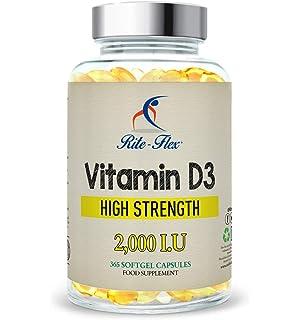 Vitamina D3 2.000 IU, 365 Cápsulas de Gel Suministro Para Un Año, Sólo Una