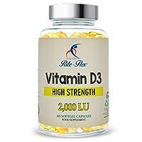 Vitamin D3 2000IU di Rite-Flex - Supporto per sistema osseo, articolare e immunitario 365 Softgels facili da deglutire per protezione e nutrimento per un anno intero