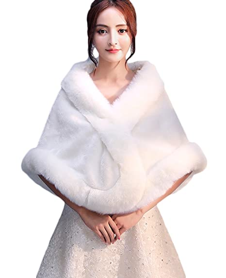 Icegrey Femme Châle en Fausse Fourrure Pour Robe Soirée Blanc Mariage Boléro  Wrap étole Blanc Ivoire b532d3a23e6