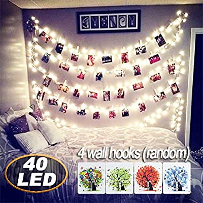 [Remote Control] 40 LED Photo Clips String Lights, 18ft Battery Powered Indoor Fairy String Light for Hanging Pictures Cards and Memos, Ideal photos Light gift for Bedroom Decoration (Warm White) : Garden & Outdoor