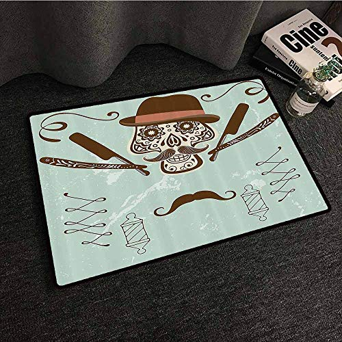 Hipster Door mat Skull with Hat and Mustache Illustration Retro Style Barber Tools Print Non-Slip Backing W35 xL47 Brown and Almond Green