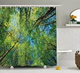 Forest Home Decor Shower Curtain by Ambesonne, Summer Branches Tranquil Lime Conservation Area Mangrove Willow Paradise , Fabric Bathroom Decor Set with Hooks, 75 Inches Long, Green
