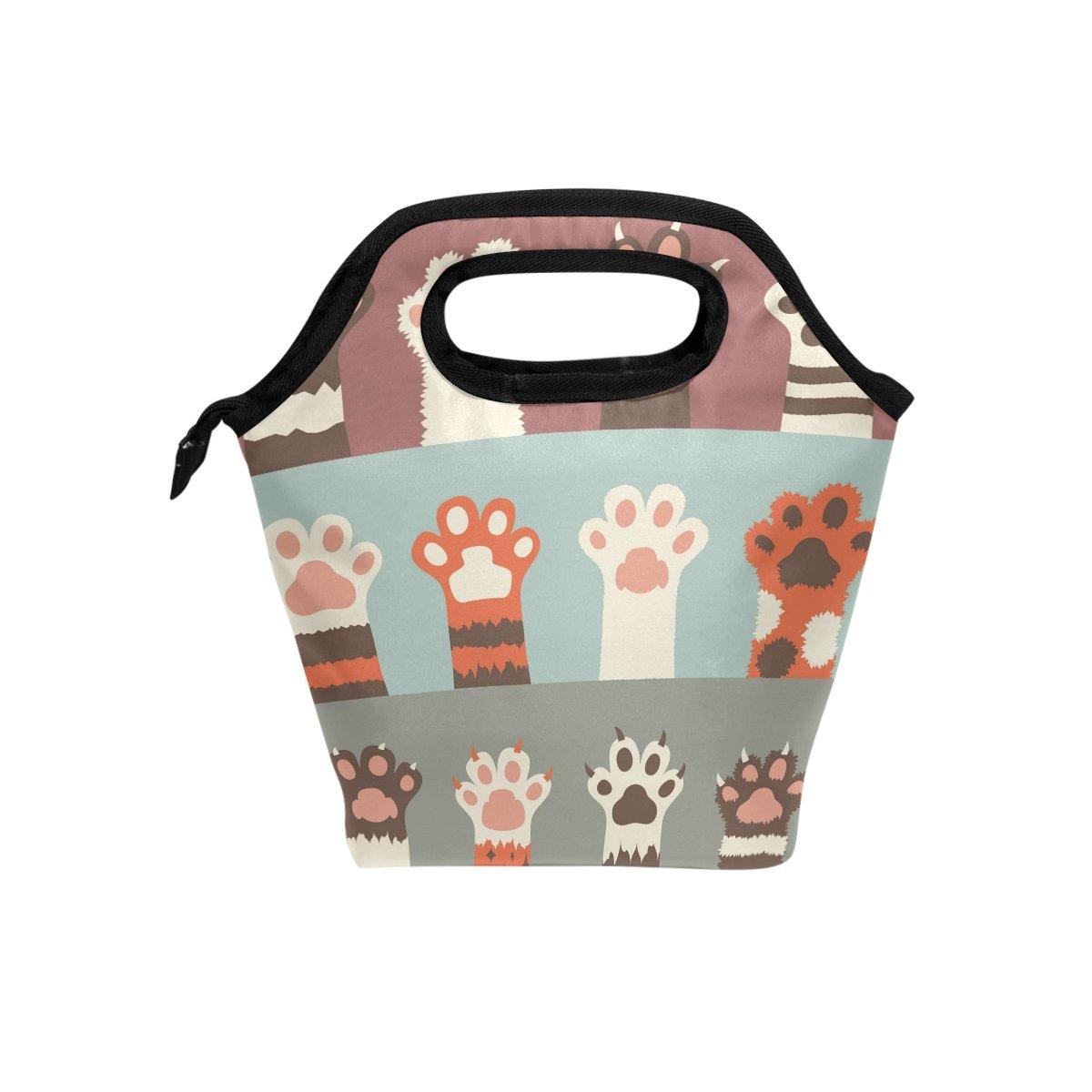 JOYPRINT Lunch Box Bag, Cartoon Animal Cat Paw Print Insulated Cooler Ice Lunchbox Tote Bag Handbag for Men Women Kids Adult Boys Girls
