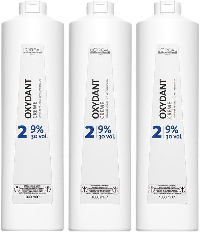 Loreal 9% Oxydant Cream 3 x 1000 ml H2O2 LP Peróxido 30 Vol. Oxidante Crema