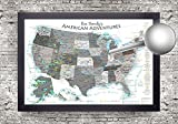 National Parks Push Pin Map - USA Travel Map - Large Framed Push Pin Map - Black and White Edition - Includes 100 map pins