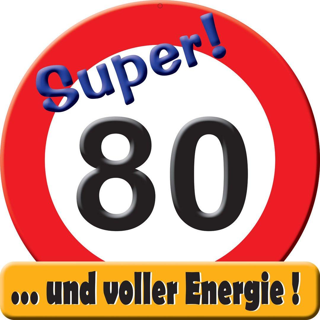 Geburtstag 50cm x 50cm Herz /& Heim/® Riesiges PVC Verkehrsschild zum 84