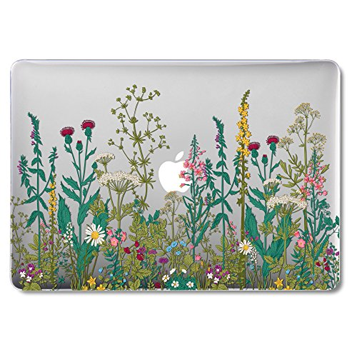 GMYLE MacBook Air 13 Inch Case A1466 A1369 Old Version 2010 2017, Hard Shell Plastic Clear Crystal Glossy Snap On Cover (Garden Floral)