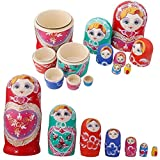 Tinksky Wooden Russian Nesting Dolls Kids Children Birthday Christmas Gifts for Home Desk Room Party Decoration, Pack of 7 (Red)