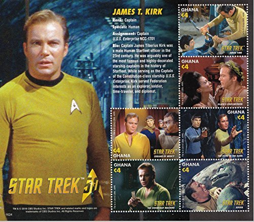 Star Trek 50th Anniversary - Captain Kirk, Spock, Uhura Collectible Postage Stamps Ghana