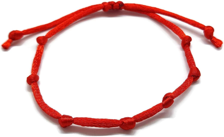 MYSTIC JEWELS by Dalia - Pulsera Kabbalah - Cordon de Hilo Rojo - Unisex - Ajustable - protección de Mal de Ojo, Buena Suerte, Good Luck