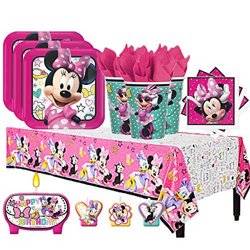 Disney Minnie Mouse Happy Helpers Birthday Party Pack for 16 with Plates, Napkins, Cups, Tablecover, and Candles (Birthday Mouse Minnie)