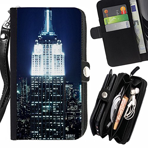 Graphic4You New York NYC Empire State Building Postcard Design Zipper Wallet With Strap Card Holder Case Cover for Apple iPhone 5C