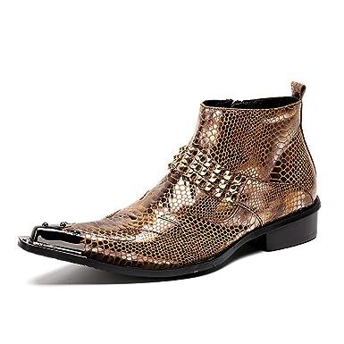 ¥*Shoes Hombres Botines De Cuero Puntiagudo Negocios PatróN De Cocodrilo Botas La Fiesta De Oficina: Amazon.es: Ropa y accesorios