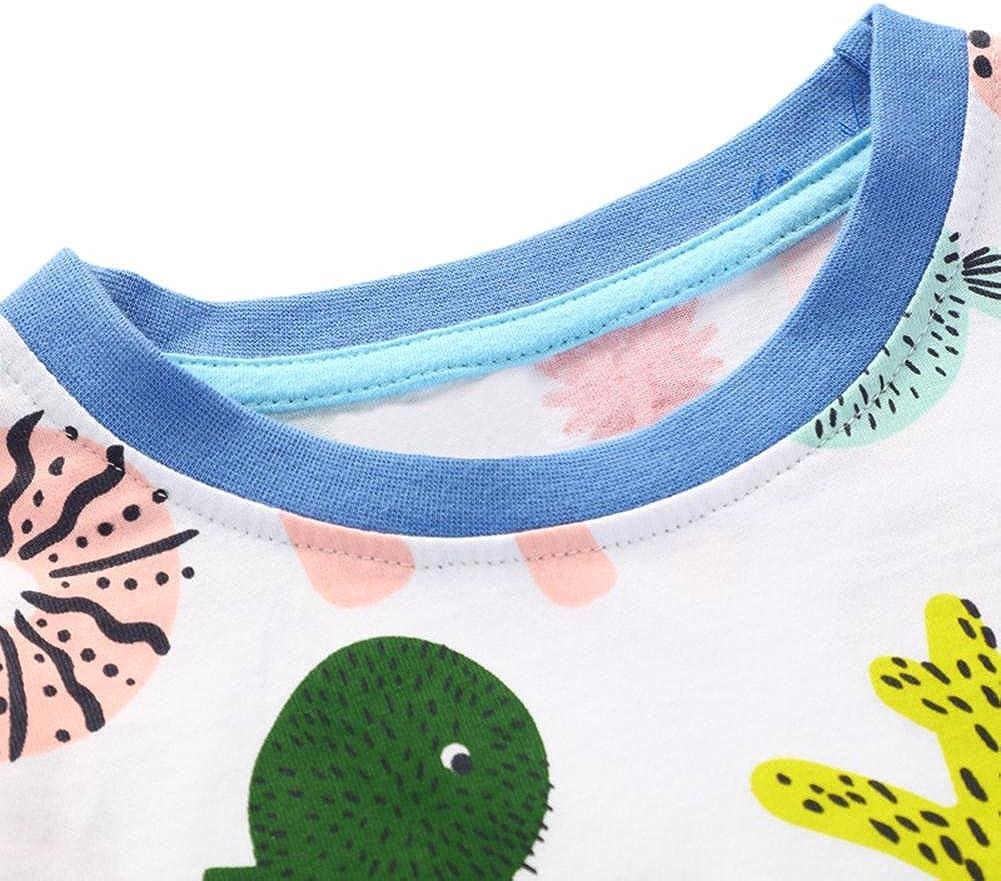 chinatera Little Girls Dresses Toddler Cartoon Animal Print Strip Shirt Party Dress