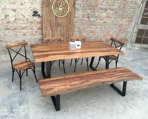 UrbanFurnishing.net - Rustic 8 Seat Live Edge Rosewood Slab Indoor Dining Set